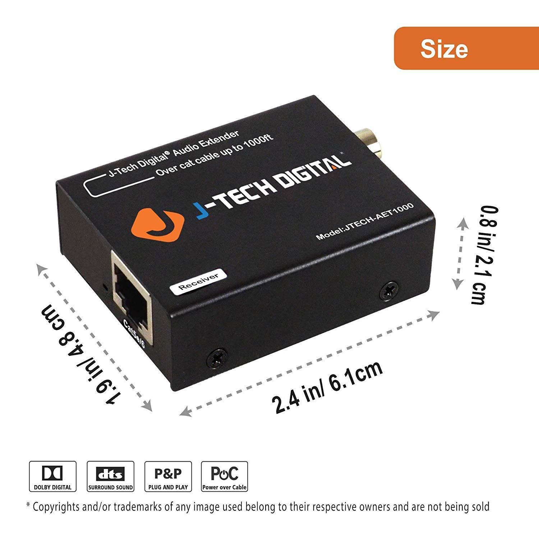 Optical/Coaxial Digital Audio Extender/Converter Over Cat5e/6 (990 feet)